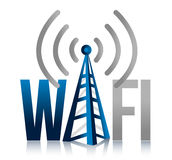 Wi fi Tower illustration design sign. Over white Royalty Free Stock Photo