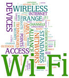 Wi-fi wordcloud. Illustration of wordcloud related to word wi-fi Stock Image