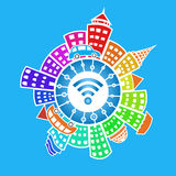 Wi-fi in the world.Flat illustration Stock Photography
