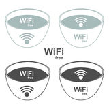 Wi-Fi zone signs to the store and bar. Vector illu Stock Photo