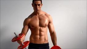 Wi masculinos hermosos jovenes del bíceps del entrenamiento del culturista almacen de video