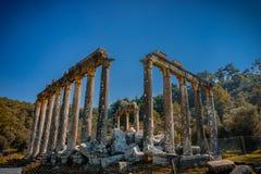 ?wi?tynia Zeus Lepsinos Euromus Euromos Antyczny miasto, Milas, Mugla, Turcja zdjęcia stock