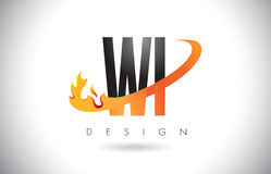 WI W I Letter Logo with Fire Flames Design and Orange Swoosh. Stock Photography