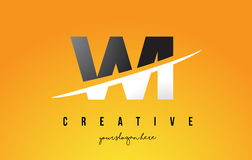 WI W I Letter Modern Logo Design with Yellow Background and Swoo Stock Photos