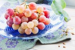 Wiązek winogron Szklany talerz obraz royalty free
