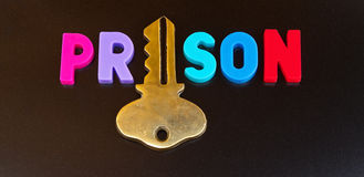 Więzienie trzyma klucz Zdjęcie Stock
