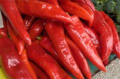 Wiązka czerwony pieprz na stole w rynku fotografia stock