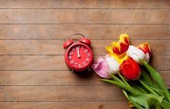 Wiązka kolorowi tulipany i czerwony budzik na cudownym br Fotografia Stock