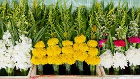 Wiązka lokalny nagietek przy rynkiem w Tajlandia dla Buddha Zdjęcia Royalty Free