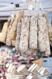 Wiązka salami na rynku Obrazy Royalty Free