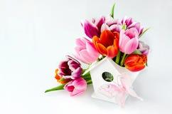 Wiązka tulipany w birdshouse wazie dla matka dnia Zdjęcia Royalty Free