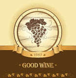 Wiązka winogrona dla etykietek wino Zdjęcia Royalty Free