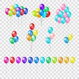 Wiązki i grupy kolorowi helowi balony na przejrzystym tle Obraz Stock