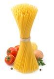 wiązki spaghetti odgórnego widok biel Zdjęcie Stock