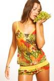 wiązki winogron kobieta Zdjęcie Royalty Free