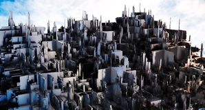 świadczenia 3 d Futurystyczny miasto Obraz Royalty Free