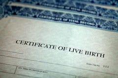 ?wiadectwo Urodzenia formy papieru Oficjalny dziecko Znosz?cy fotografia royalty free