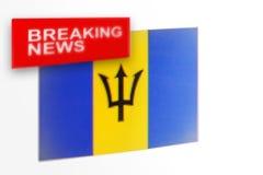 Wiadomość dnia, Barbados kraju flaga i wpisowa wiadomość, obrazy royalty free