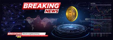 Wiadomość dnia cryptocurrency, bitcoin w HUD stylu Ikona Bitcoin Realistyczna Bitcoin moneta na błękitnym tle ilustracji