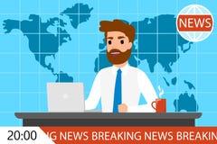 Wiadomość dnia mężczyzna na TV Męski newscaster ilustracji