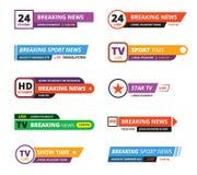 Wiadomość dnia sztandarów interfejsu baru tv telewizyjna grafika royalty ilustracja