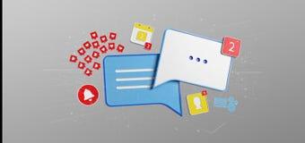 Wiadomość i powiadomienia ogólnospołeczny środków 3d rendering ilustracji