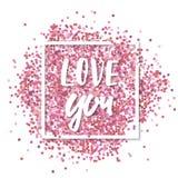 wiadomość miłości Różowi confetti wewnątrz w białego kwadrata ramie Romantyczny walentynki tło royalty ilustracja