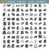 Wiadomość odnosić sie Prawo i Sprawiedliwość Online zakup Dokumentu zarządzania proste ikony ustawiać royalty ilustracja