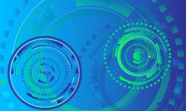 Wiadomość pokoju tła pojęcie, kółkowi graficzni elementy dla technologii/zieleni i błękita, informatyki tło Obrazy Stock