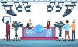 Wiadomość programa telewizyjnego studio Podawcy transmituje z kamerzystą na telewizji Ludzie opowiada kamera w studiu wektor ilustracji