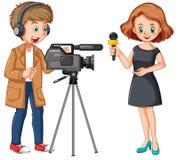 Wiadomość reporter i profesjonalisty kamerzysta royalty ilustracja