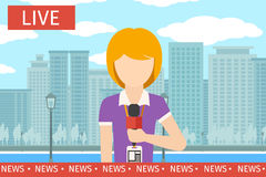 Wiadomość reportera kobieta royalty ilustracja