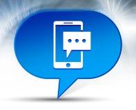 Wiadomość tekstowa telefonu ikony bąbla błękitny tło ilustracja wektor