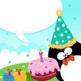 wiadomość urodzinowy pingwin s ilustracja wektor