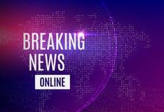 Wiadomości dnia zawiadomienia wiadomości online linia z wiadomością o opóźnionej wiadomości na futurystycznym jaskrawym tle z ilustracja wektor