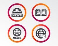 Wiadomości ikony Światowi kula ziemska symbole Książkowy znak ilustracja wektor