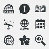 Wiadomości ikony Światowi kula ziemska symbole Książkowy znak royalty ilustracja