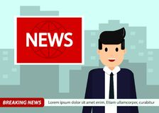 Wiadomości kotwica na TV wiadomości dnia tle Mężczyzna w kostiumu i krawacie Wektorowa ilustracja w płaskim projekcie ilustracja wektor