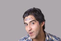 Wiadomości młodego człowieka twarz Obrazy Royalty Free