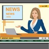 Wiadomości kobiety kotwicowy chodnikowiec TV Zdjęcie Royalty Free