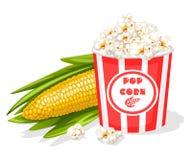 Wiadro pełno popkorn z kukurydzanym cob ilustracji