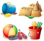 Wiadro zabawki i piaska kasztel royalty ilustracja