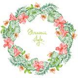 Wianek akwarela egzota czerwoni kwiaty, poślubnik i liście palmy, miejsce dla teksta (rama) Fotografia Stock