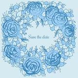 Wianek błękitne róże desing poślubiać Fotografia Royalty Free