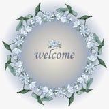 Wianek błękitni lotosowi kwiaty karciany kwiecisty powitanie ilustracji