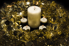 Wianek i świeczki Fotografia Stock