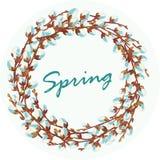 Wianek kwiatonośne wierzbowe gałązki również zwrócić corel ilustracji wektora ilustracja wektor