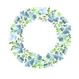 Wianek robić delikatni błękitów kwiaty i zieleń liście Brier gałązka na białym tle okrągły kształt adobe korekcj wysokiego obrazu royalty ilustracja