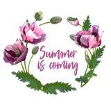 Wianek wiosna kwitnie plakat, zaproszenie lub sztandar -, royalty ilustracja