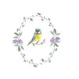 Wianek z ptakiem i czarną jagodą Zdjęcie Royalty Free